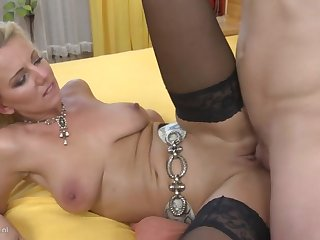 Taboo home sex with sexy mom added to young laddie