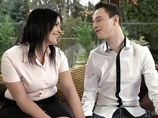 Dark haired mature whore Montse Swinger loves swallowing cum not on