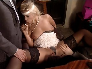 Retro Blonde Sucking Two Hard Dicks And Getting Creamed