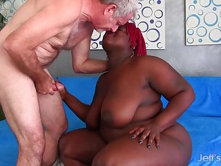 Old White Cock Makes Ebony BBW Marley XXX Phat Plunder Wiggle