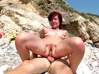 Hot mature gets a young dick to devour her tiny holes