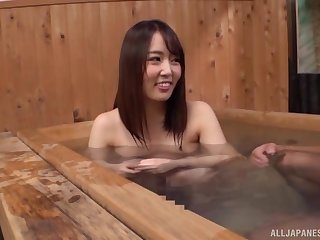 Cute Japanese unladylike adores standing doggy style in rub-down the bathroom