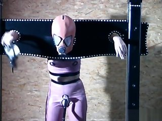 Gimp girl locked in box and vituperate