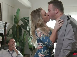 Kinky boss invites seductive employee to fuck naughty wife Kate Kennedy