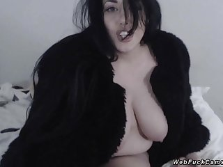 Unartificial huge tits brunette layman babe wanking and ribbons big dildo in her black fur coat