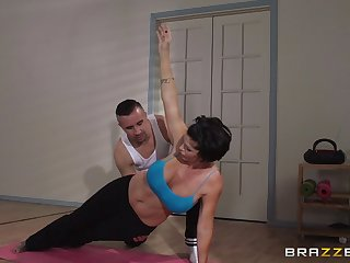 Mature woman Shay Deucedly in heaven's name does yoga with an increment of gets fucked in her asshole