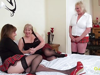 Threesome sexual corps up three busty british pansy matures added to sex toys