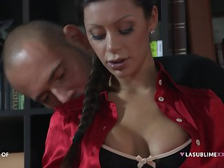 Threesome with double penetration for darling Elena Grimaldi