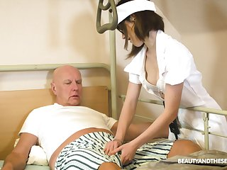 Teen nurse in glasses Adelle Sabelle gives a wonderful blowjob to pensioner