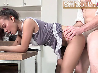 Young Thai maid gets fucked by a big cock tourist