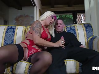 Christie Dom is bellyaching cramp while two younger guys are fucking her brains out, before you can turn around