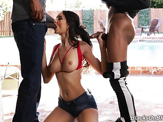 Super sexy Pool bird Eliza Ibarra is fucked and jizzed wide of two black guys