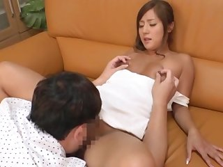 Japan honey loves eradicate affect warm cock in their way shaved peach