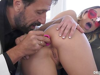 Fancy ash-blonde stunner, Khloe Kapri got plumbed in the arse, in the middle of the go steady with