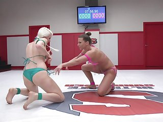 Catfight ends to lesbian ass poking between Ariel X and Lorelei Lee