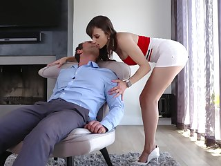 Sexy busty MILF Lexi Luna rides cock in a really crazy way for orgasm