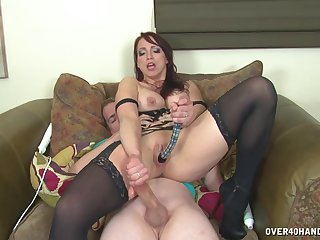 Nicki Hunter works her man's cock with everything barring her cunt