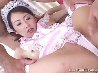 Fat gumshoe deep in rhapsodic pussy of Koyuki Matsumoto via a 3-way