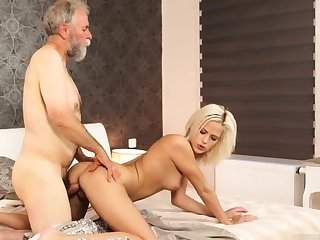 Daddy call me and chubby old granny Ria fell down detach from