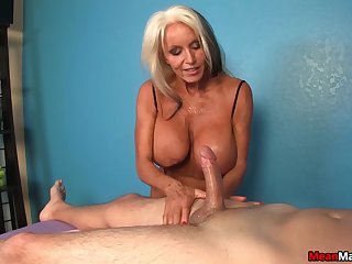 Hot mature works the young dick like a goddess