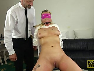 Blindfolded and silenced Candice Banks gets rough fucked by her man