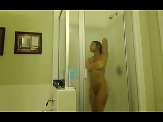 Hidden cam of taking a shower all natural Indian housewife