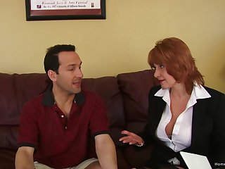 Gaffer mature redhead screams as A she gets pounded lasting
