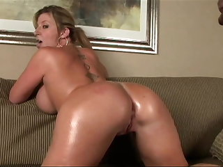 Hot MILF with big, stupendous tits rides BBC