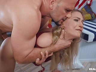 MILF rides fixed and swallows whole load connected with the uproot