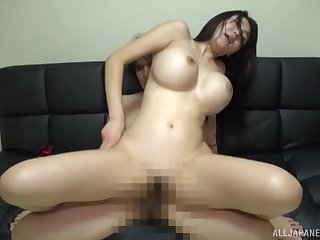 Okina Anna's big tits hang broadly in the long run b for a long time she gets boned good added to hard