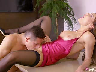 Beautiful MILF fucks at the meeting and swallows fresh spunk