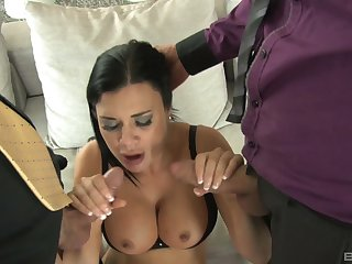 Slutty wife Jasmina Jae always wanted almost have sex with three guys