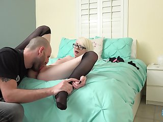 Blonde dame Alice Pink is happy to suck delicious cock in someone's skin horniest way