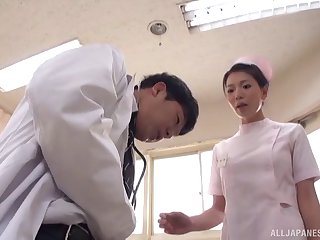 Horny Japanese nurse gives freak increased by rides his dick on the bed