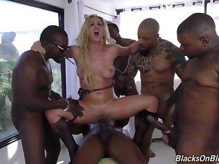 Big tits MILF gangbang interracial bukkake