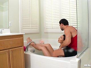 Girl sucks gumshoe and gets laid up superb bathroom POV