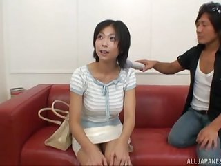 Natural breasts Asian chick enjoys sucking two dicks and rides one