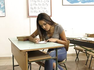 Fine Asian teen goes wild on the teacher's hide dick