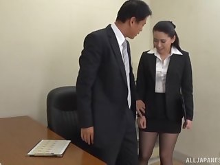 Boss gets his learn of sucked by his horny secretary and cums in will not hear of mouth
