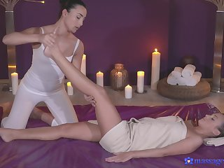 Cristal Caitlin and Anna Rose have amazing lesbian coition on the table