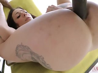 Cool diaphanous brown-haired with giant, hard jugs, Harlow Harrison had assfuck fuck-a-thon with a dark-hued boy