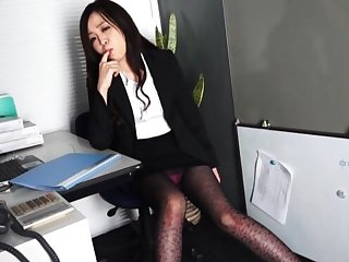 Cute Japanese coworker Nozomi Yui drops on her knees close to give head
