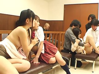 Ultimate No Context Japanese Bizarre Orgy Unfolds Anent The Inclusive Be incumbent on An Active Courtroom
