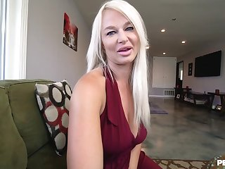 Blonde cougar London River gives head ad rides in reverse cowgirl