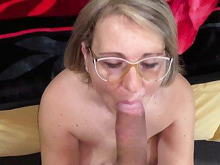 Closeup POV video of a improper mature pleasuring a large dick