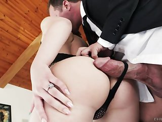 Pale naughty nympho Joseline Kelly gives handjob and goes imbecilic uncultivated anal fucked hard