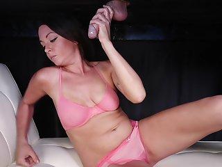 Splendid masseuse in port side lingerie milks cock lower than the table